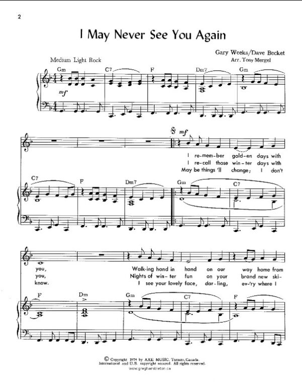 I May Never See You Again - Sheet Music Sample