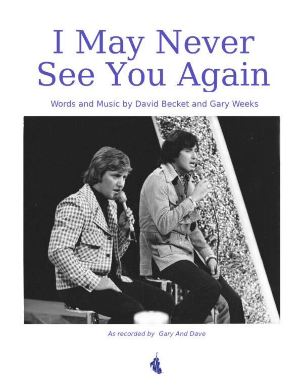 I May Never See You Again - Sheet Music Cover